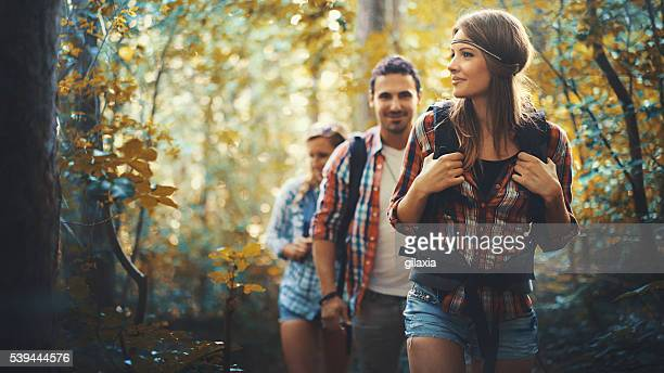 Hikers in forest.