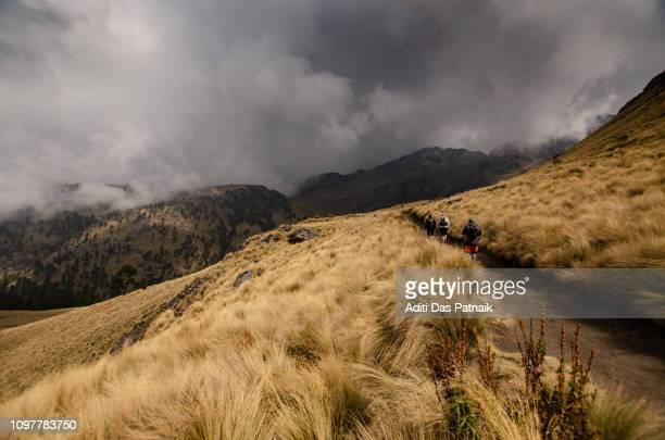 hikers in iztaccihuatl-popocatepetl national park - alpine_climate stock pictures, royalty-free photos & images