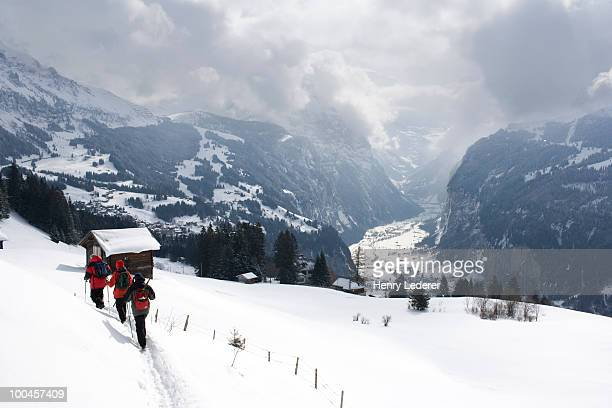 Hikers in Swiss alps