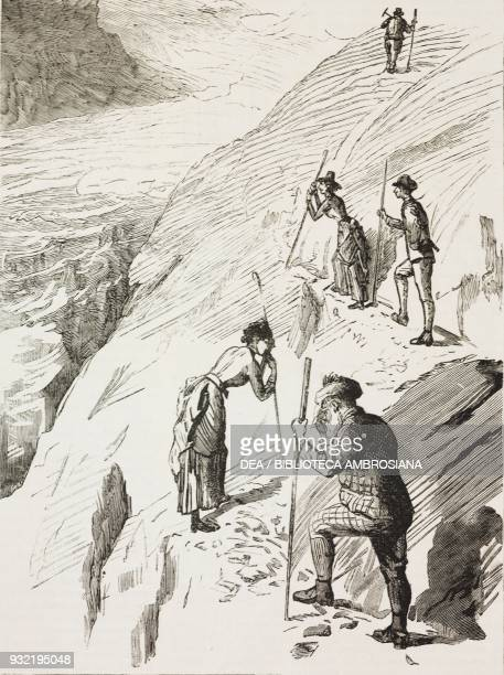 Hikers in the mountains an ascent of the Schilthorn from Murren Switzerland illustration from the magazine The Graphic volume XXX no 765 July 26 1884
