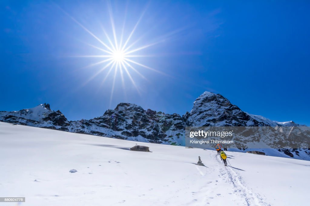 Hikers making their way to Everest Base Camp, Nepal. : Stock Photo