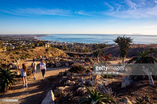 Hikers on a path in the Karoo Gardens section at the Ventura Botanical Garden on Thursday, Jan. 21, 2021 in Ventura, CA.