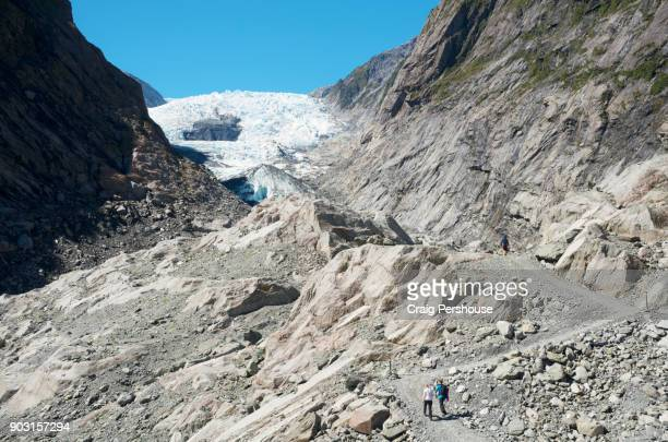 Hikers on Franz Josef Glacier Valley Track below Franz Josef Glacier.