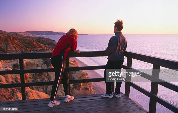 Hikers on Guy Fleming Trail, Torrey Pines State Reserve, San Diego, California, United States of America, North America