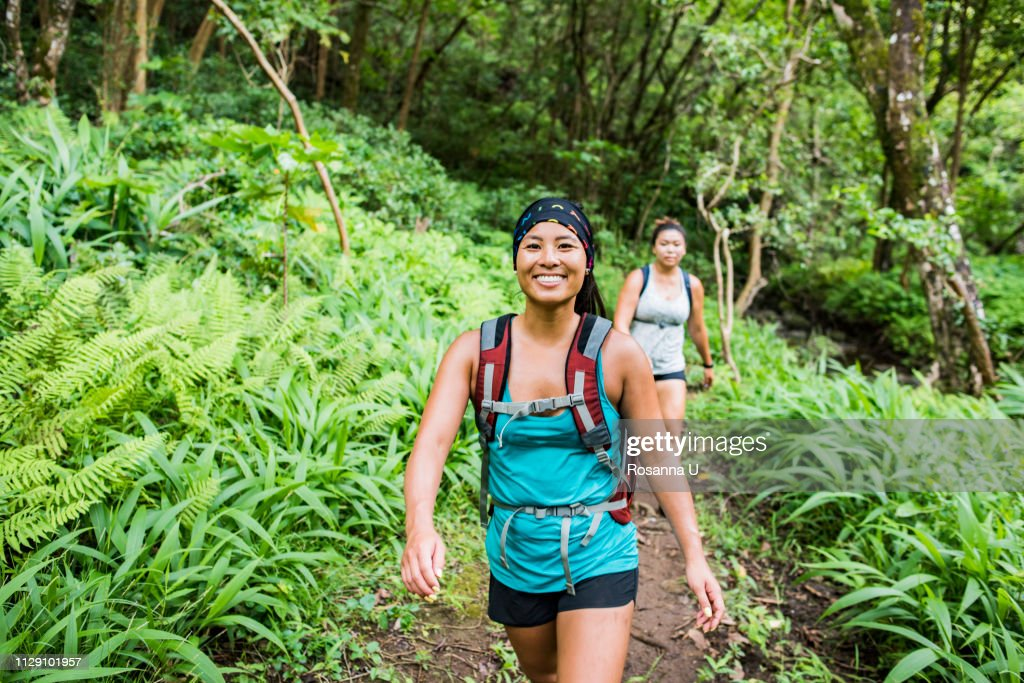 Hikers on Moanalua Valley Trail, Oahu, Hawaii : Stock Photo