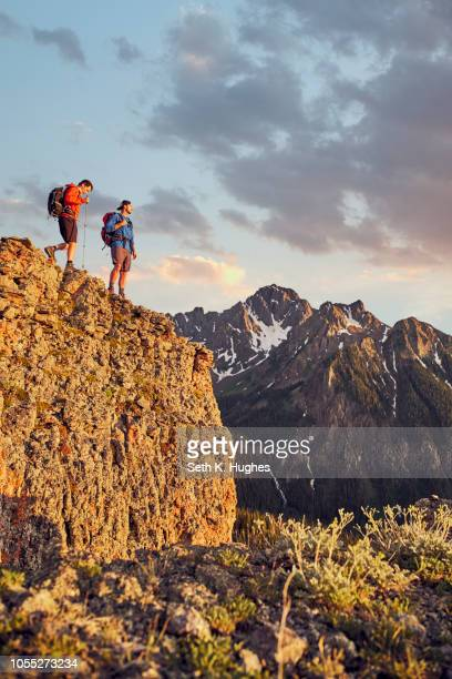 Hikers on mountain peak, Mount Sneffels, Ouray, Colorado, USA