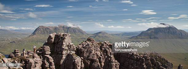 Hikers on summit ridge of Stac Polliadh, Scotland