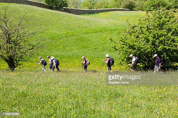 Hikers on the Cotswold Way National Trail, UK