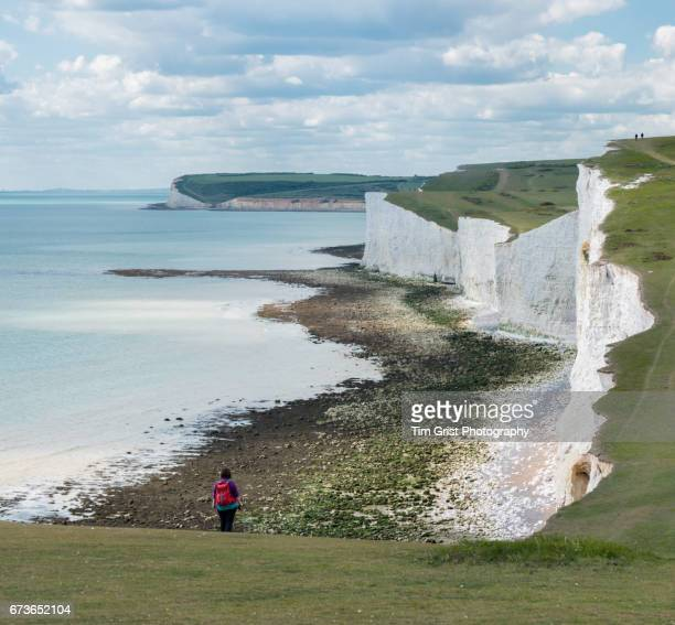 Hikers on the Seven Sisters Cliffs