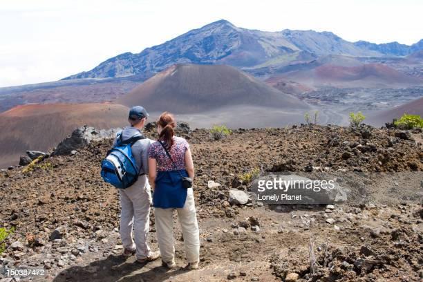 Hikers on the Sliding Sands Trail, Haleakala National Park.