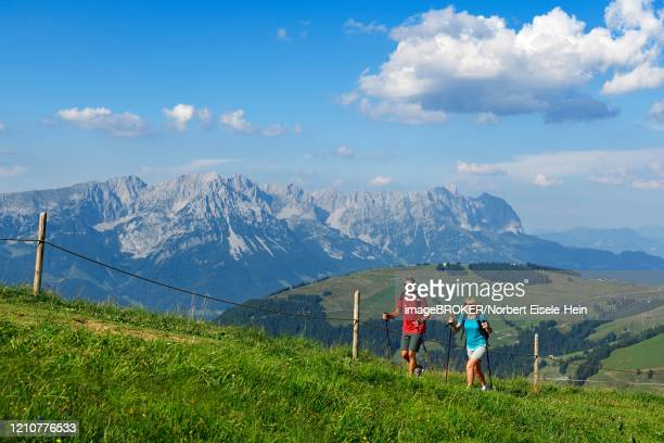 hikers on the summit panorama trail of the hohe salve, hopfgarten, brixental, kitzbuehel alps, tyrol, austria - 北チロル ストックフォトと画像