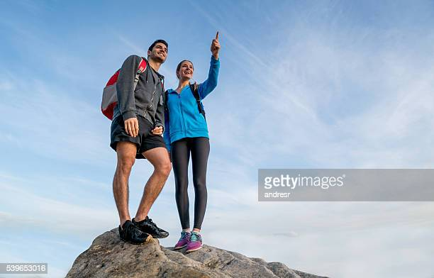 Hikers on the top of a mountain