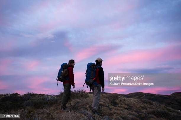 Hikers on Torres del Paine National Park, Patagonia, Chile