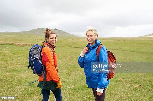 Hikers on vast moorland