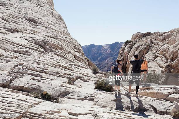 3 hikers outdoors - st. george utah stock pictures, royalty-free photos & images