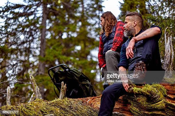 Hikers resting on fallen tree, Sarkitunturi, Lapland, Finland