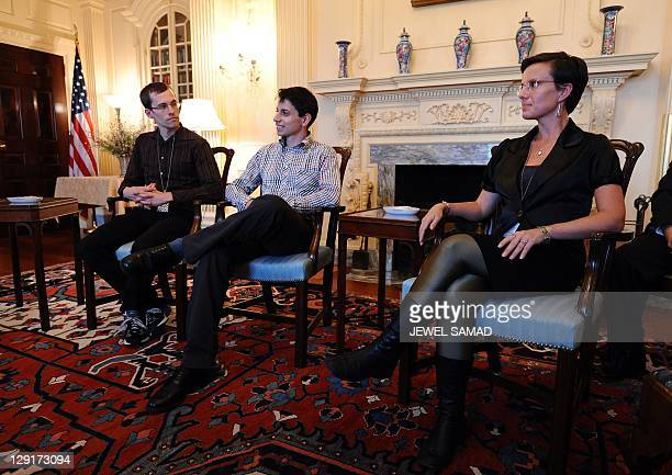 US hikers Shane Bauer Josh Fattal and Sarah Shroud attend a meeting at the State Department in Washington DC on October 13 2011 Bauer Fattal and...