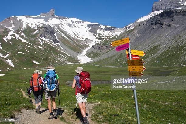 Hikers touring Muverans Massif, Switzerland