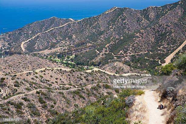 hikers trek the hermit gulch trail - the avalon hollywood stock pictures, royalty-free photos & images