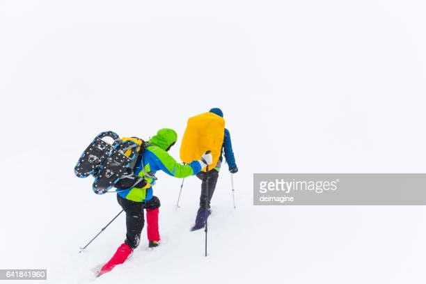 Hikers trekking on snowy plateau