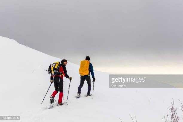 Hikers walk on fresh snow