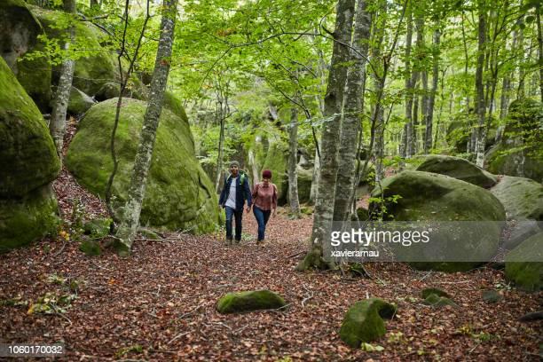 excursionistas caminar en el bosque durante el otoño - turismo ecológico fotografías e imágenes de stock