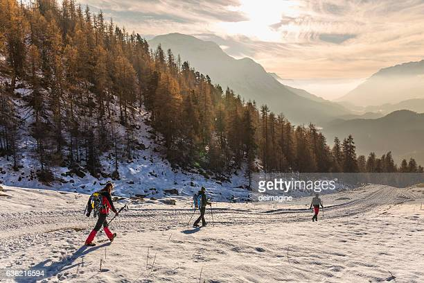 Hikers walking on snow covered road in high mountain forest