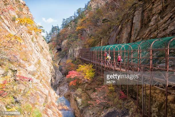 excursionistas caminando por el puente de la montaña seoraksan de otoño - parque nacional fotografías e imágenes de stock
