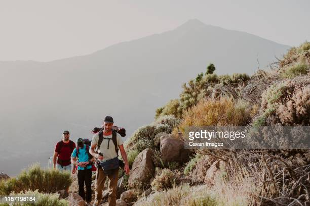 hikers walking to the top of guajara mountain with volcano teide - pico de teide stock pictures, royalty-free photos & images