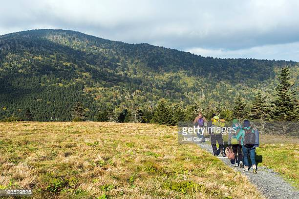 hikers with backpacks on appalachian trail - appalachian trail stock pictures, royalty-free photos & images