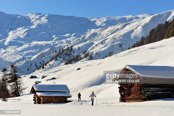 Hikers with snowshoes in Rojen valley snowy landscape Upper Vinschgau valley TrentinoAlto Adige Italy