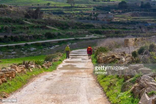 Hiking after the rain on Gozo island, Malta