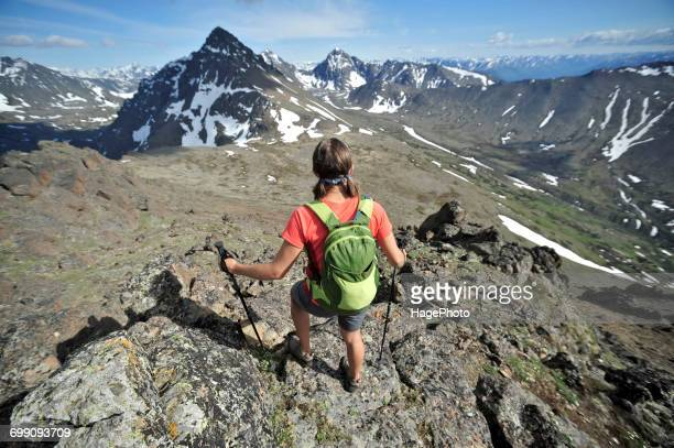 hiking alaska chugach mountains - chugach state park stock pictures, royalty-free photos & images