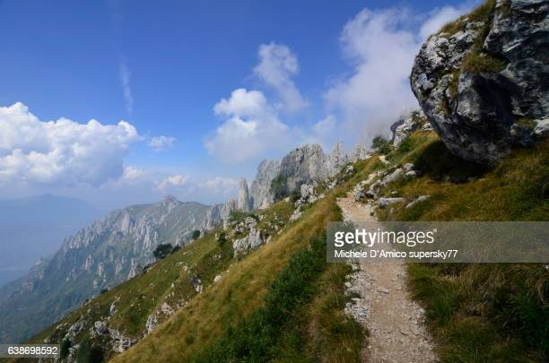 hiking amidst the dolomitic hoodoos - steep stock photos and pictures
