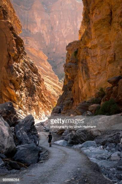 hiking an nakhur gorge, wadi ghul, oman - flussbett stock-fotos und bilder