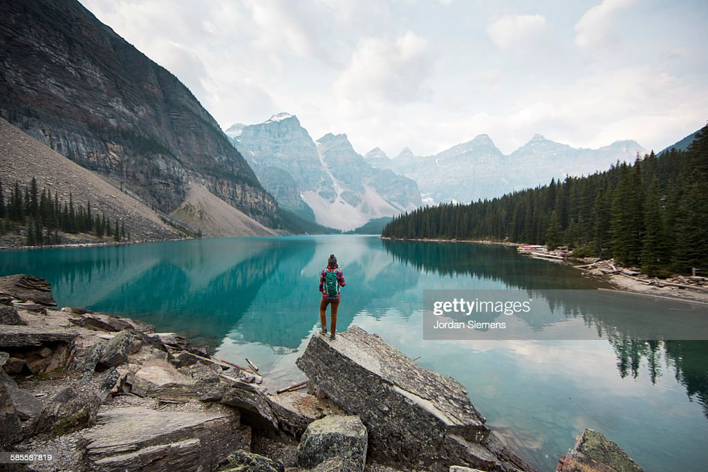 Hiking around Moraine Lake. : Stock Photo