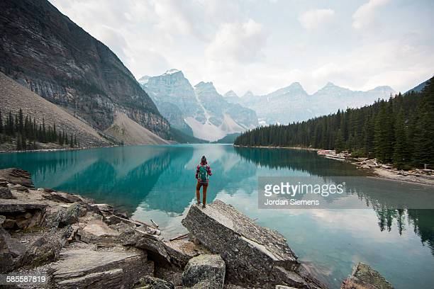 hiking around moraine lake. - canada stock pictures, royalty-free photos & images