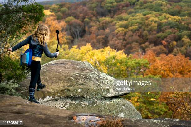 hiking at garden of the gods, illinois - illinois stock pictures, royalty-free photos & images