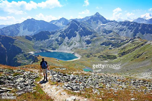 Hiking at Illsee at Illhorn Mountain in Switzerland