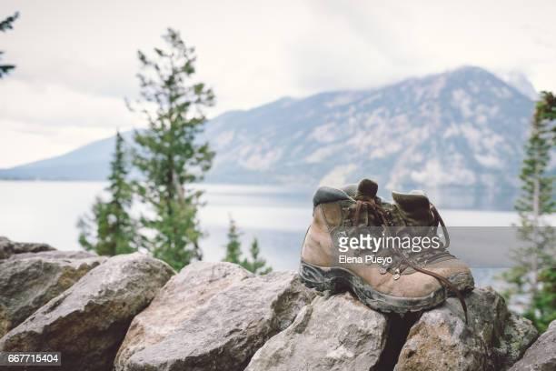 hiking boots in Jenny Lake, Gran Teton National Park