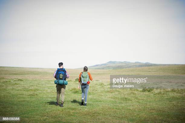Hiking couple adventure.