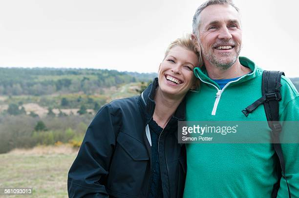 Hiking couple in rural landscape