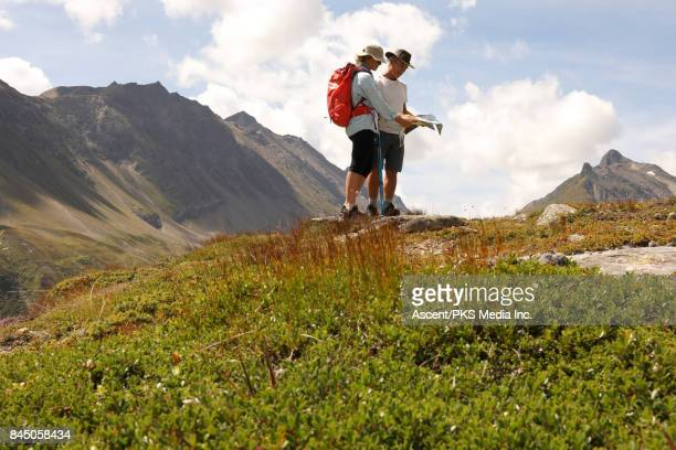 Hiking couple pause in mountain meadow, consult map