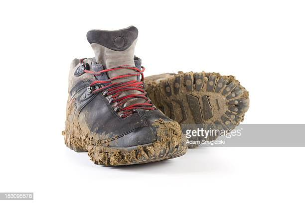 hiking dirty boots - hiking boot stock pictures, royalty-free photos & images