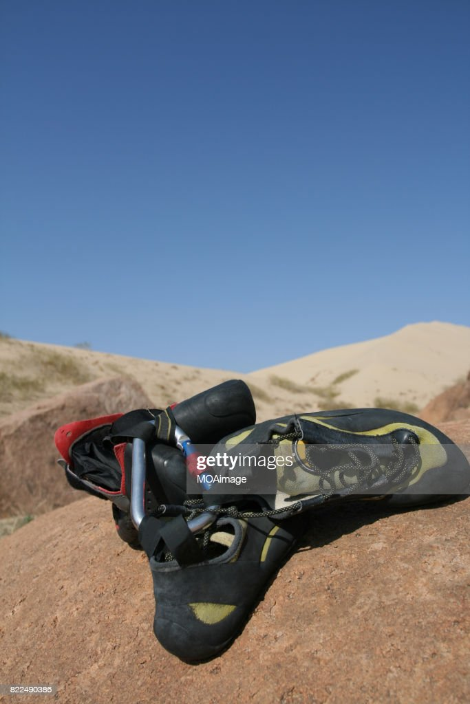 A Hiking equipment on Gobi Desert : Stock Photo