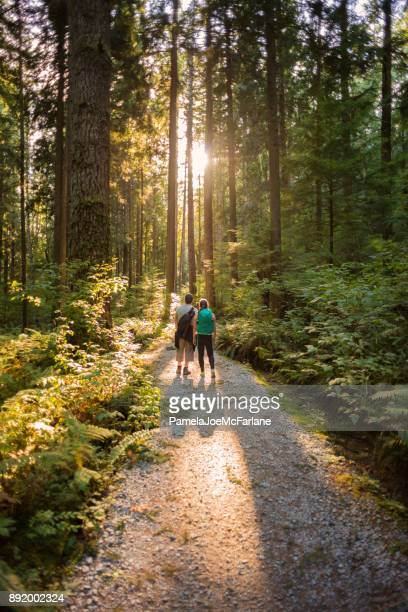 Hiking Father and Daughter Exploring Sunlit Forest Trail in Canada
