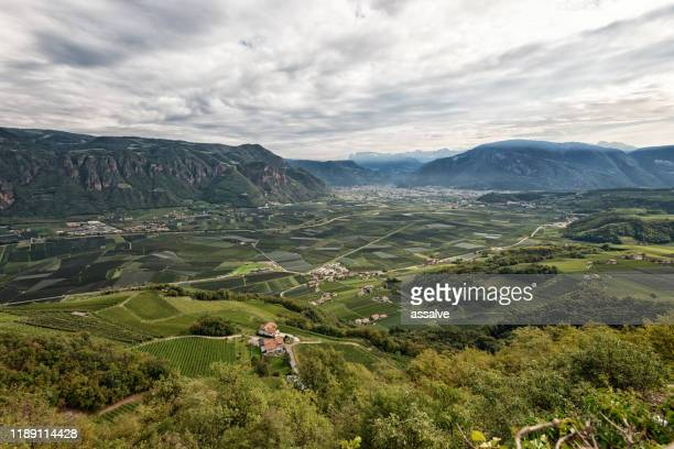 hiking in alto adige, italy, with city bolzano in the background - valle foto e immagini stock