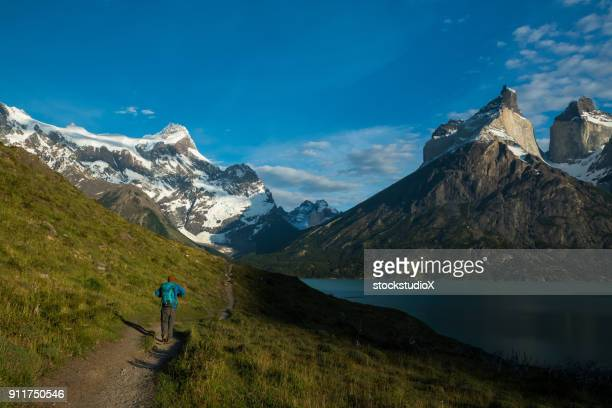 hiking in chile's patagonia - patagonia chile stock photos and pictures