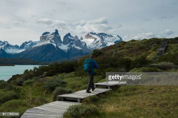 hiking in chile's patagonia - torres del paine national park stock photos and pictures