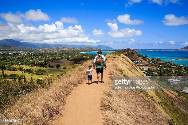 Hiking in Hawaii with Stunning Views of Kailua Mountains and the Pacific Ocean